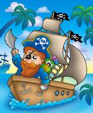 Cartoon pirate sailing on ship Royalty Free Stock Photos