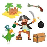 Cartoon pirate set. Pirate set in cartoon style. Island, chest, pirate, parrot cannonball pistol Royalty Free Stock Photos