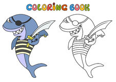 Cartoon pirate shark Stock Image