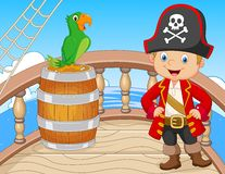 Cartoon pirate on the ship with green parrot stock illustration