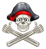 Cartoon Pirate Skull and Crossbones. Jolly Roger pirate skull and crossbones giving a thumbs up Royalty Free Stock Photography