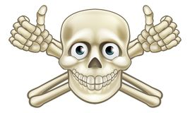 Cartoon Pirate Skull and Crossbones Thumbs Up Royalty Free Stock Photography