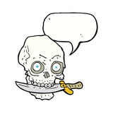 Cartoon pirate skull with knife in teeth with speech bubble Stock Images