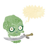 Cartoon pirate skull with knife in teeth with speech bubble Royalty Free Stock Image