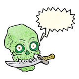 Cartoon pirate skull with knife in teeth with speech bubble Royalty Free Stock Photography
