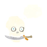 Cartoon pirate skull with knife in teeth with thought bubble Royalty Free Stock Image