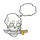 Cartoon pirate skull with knife in teeth with thought bubble Royalty Free Stock Photos