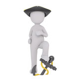 Cartoon Pirate Standing with Foot on Anchor. Generic Gray 3d Cartoon Figure Wearing Pirate Hat and Standing with Foot Up on Anchor with Rope in front of White Stock Images