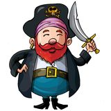 Cartoon pirate with a sword Stock Images