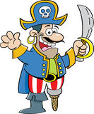 Cartoon pirate with a sword Stock Image