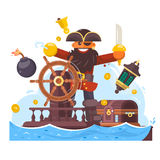 Cartoon pirate with sword and hook on ship. Vector illustration Stock Photography