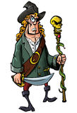 Cartoon pirate with a sword and staff Stock Photos