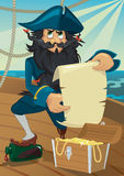 Cartoon pirate with treasure chest Stock Photos