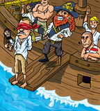 Cartoon pirate walking the plank Royalty Free Stock Images