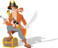 Cartoon pirate. With weapons and parrot Royalty Free Stock Photo