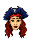 Cartoon pirate woman in hat with Jolly Roger Royalty Free Stock Images