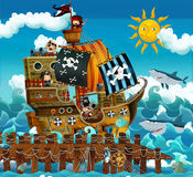 Cartoon pirates - illustration for the children Stock Images