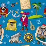 Cartoon pirates seamless pattern background Royalty Free Stock Photos