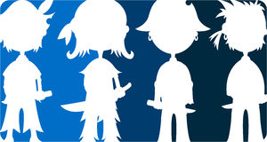 Cartoon Pirates Silhouette royalty free illustration
