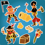 Cartoon pirates stickers Royalty Free Stock Photo