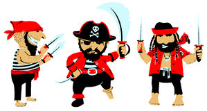 Cartoon pirates with weapon Royalty Free Stock Images