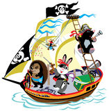 Cartoon pirateship royalty free illustration