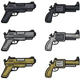 Cartoon pistols and handguns vector icons. Cartoon pistols, handguns and revolver isolated on white background. Vector weapons firearms icons Stock Images