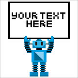 Cartoon Pixel Art Robot Holding A Sign Royalty Free Stock Photo