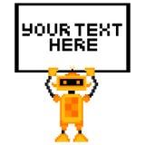 Cartoon Pixel Art Robot Holding A Sign Royalty Free Stock Image