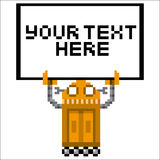 Cartoon Pixel Art Robot Holding A Sign Stock Photography