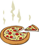 Cartoon pizza. Pizza  on a white background, vector Stock Images