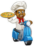 Cartoon Pizza Chef on Delivery Moped Scooter Royalty Free Stock Photo
