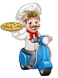 Cartoon Pizza Chef on Delivery Moped Scooter Stock Image