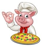 Cartoon Pizza Chef Pig Character Mascot Royalty Free Stock Photography