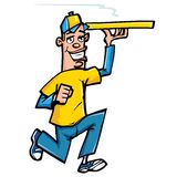 Cartoon of Pizza delivery boy Royalty Free Stock Photography