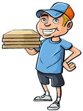 Cartoon pizza delivery boy Stock Photography