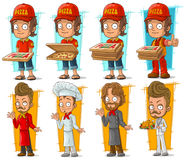 Cartoon pizza delivery boy and cook chef character vector set. Cartoon pizza delivery boy and cook chef restaurant character vector set Royalty Free Stock Images