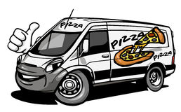 Cartoon pizza delivery car giving a thumb up Stock Images
