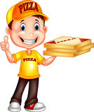 Cartoon pizza delivery man giving thumbs up Royalty Free Stock Images