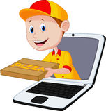 Cartoon Pizza delivery online Royalty Free Stock Images
