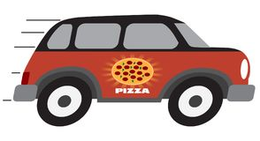 Cartoon Pizza Delivery Vehicle. Is speeding towards it`s destination hoping to be on time Royalty Free Stock Photo