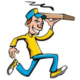 Cartoon of pizza running delivery boy Royalty Free Stock Image