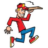 Cartoon of pizza running delivery boy Stock Photography