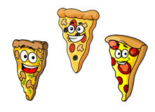 Cartoon pizza slices Royalty Free Stock Images
