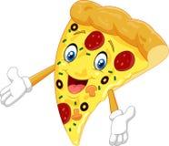 Cartoon pizza waving Stock Image