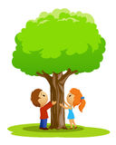 Cartoon place with boy and girl touched tree Royalty Free Stock Photo