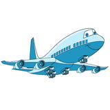 Cartoon plane aircraft. Cartoon flying plane transport. Passenger aircraft airliner, isolated on white background. Childish vector illustration and colorful book vector illustration