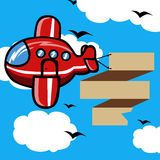 Cartoon Plane with blank banner Royalty Free Stock Images