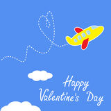 Cartoon plane. Dash heart in the sky. Happy Valent Stock Images