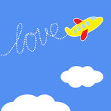 Cartoon plane. Dash word Love in the sky. Love car Stock Images